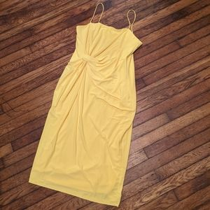 Adrianna Papell Yellow Draped Bandeau Dress
